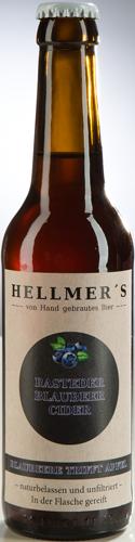 Bierflasche Blaubeercider von der Brauerei Hellmer