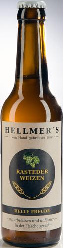 Bierflasche Rasteder Weizen von der Brauerei Hellmer