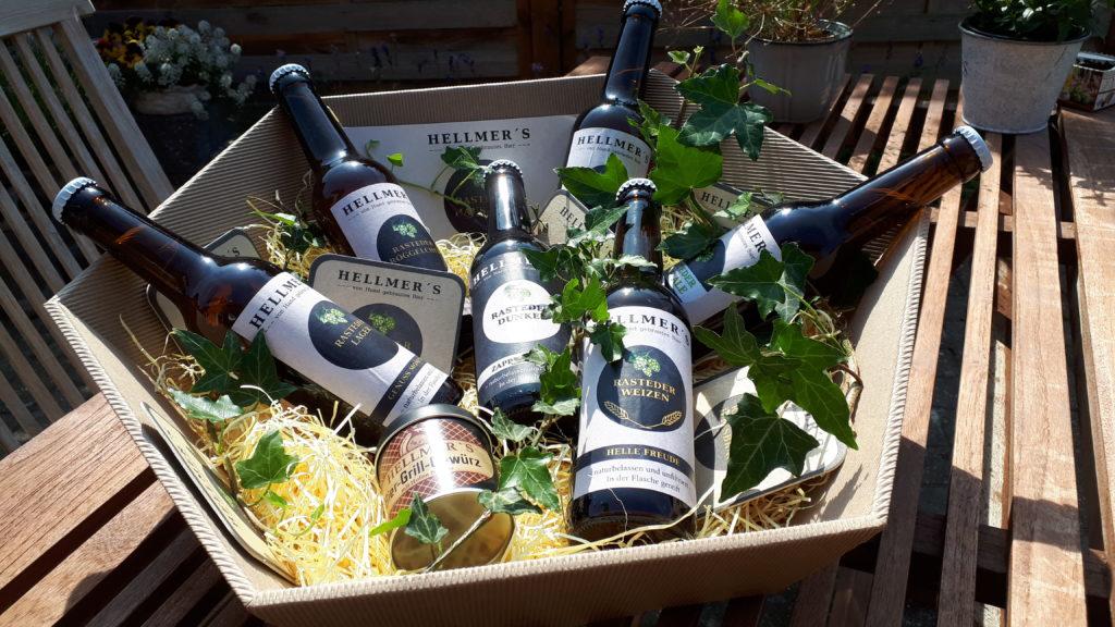 Geschenkverpackung von der Brauerei Hellmer